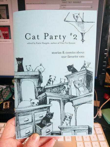 Cover of Cat Party #2, which features a lot of cats on various tables and in drawers in those tables
