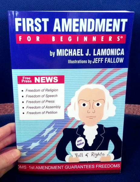 Book cover depicting James Madison holding a bill of rights in front of a blue background