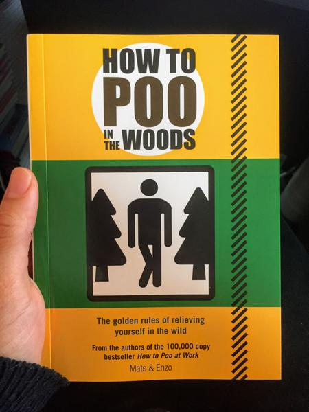 How to Poo in the Woods  by Mats and Enzo [Green and Yellow Cover with a stick person who is trying not to pee]