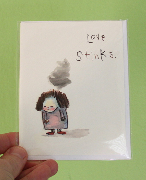 love stinks greeting card blowup