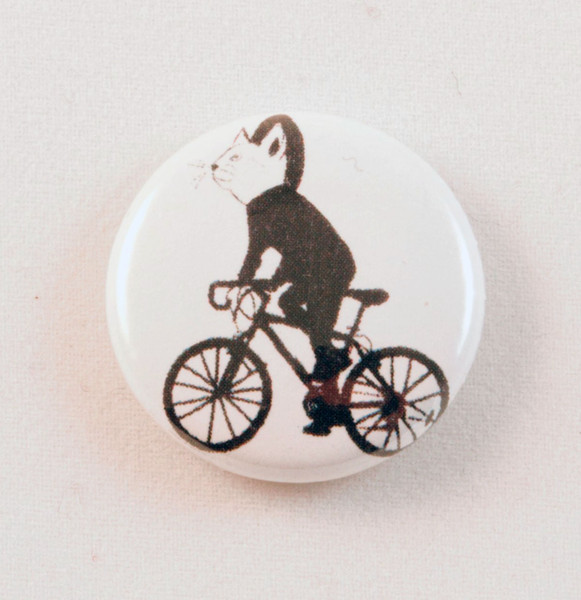 cat bike racer button