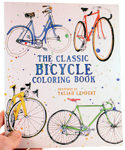 Several colorful bikes adorn the cover against a white backroung with paint-like blots all over