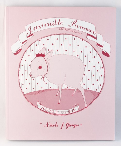 A pink book with a drawing of a young lamb