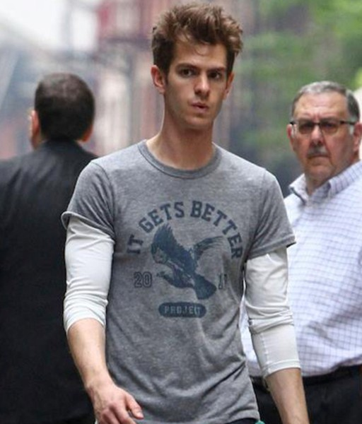 andrew garfield wearing an it gets better shirt