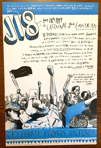 J18 poster about the protest at the london financial district