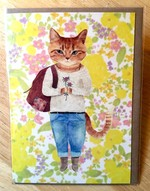 Furcoats and Backpacks greeting card (Lucy—flowers and blue jeans)