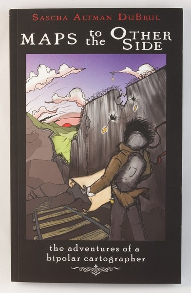 A black book with an illustration of a young man with a map, crossing a railroad bridge near a dam