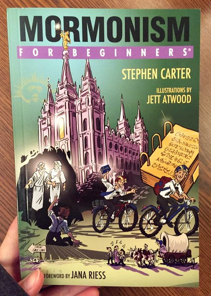 green book cover depicting mormons biking away from a large church, two prophets, and a bound bible