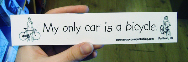 "sticker with bike pictures and text ""my only car is a bicycle"""