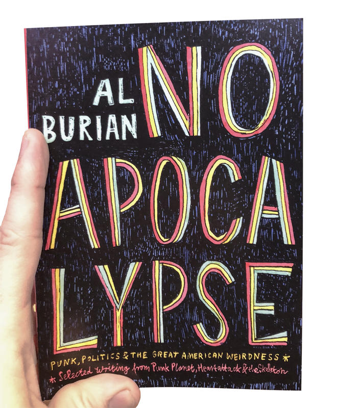 "A dark blue book cover with the words ""No Apocalypse"" in rainbow font."