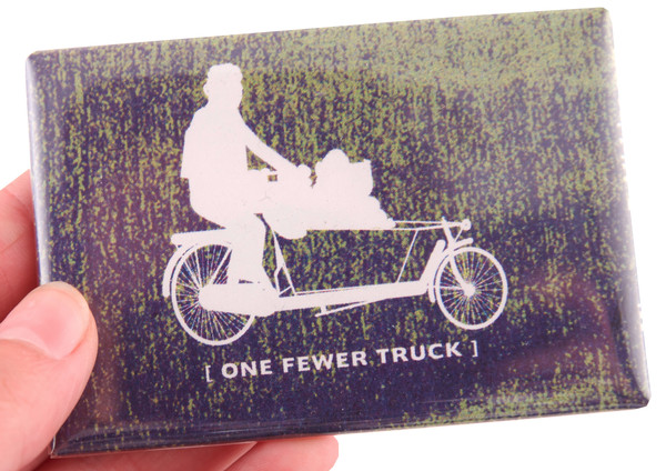 one fewer truck person on bicycle