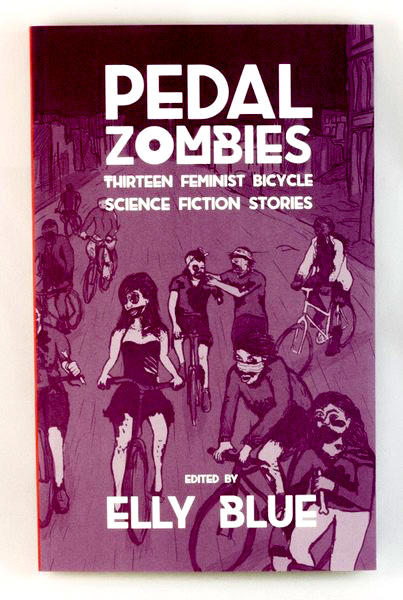 A purple book with zombie cyclists all over the cover