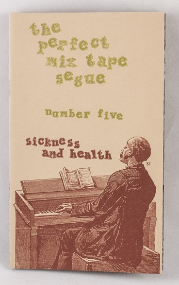A zine cover with an illustration of a man playing a piano