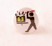Stick Man demolishes colorful TV button