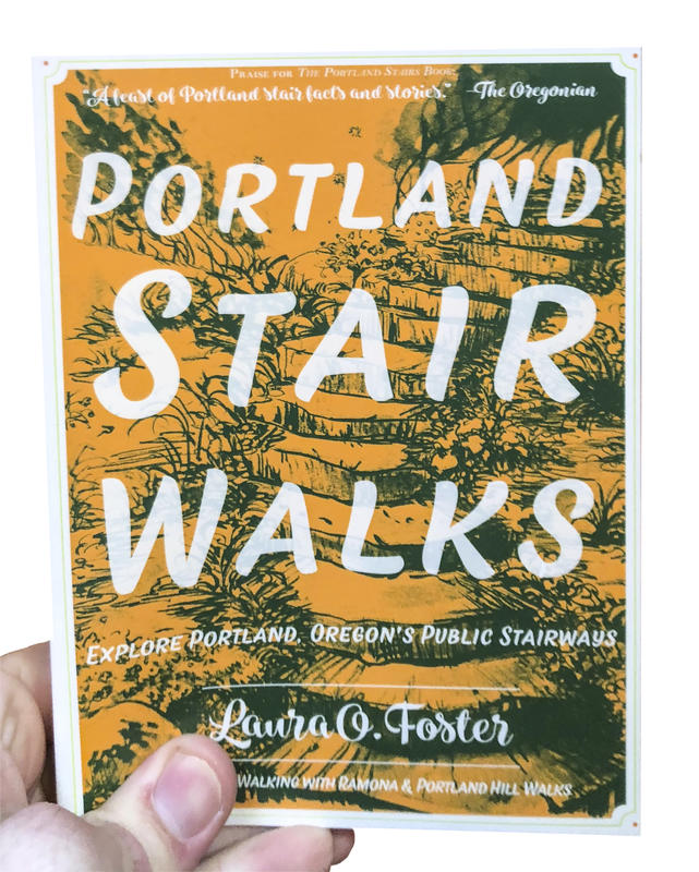 An orange book cover depicting green illustrations of grassy outdoor steps.