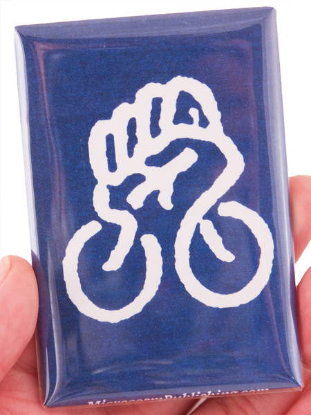 bike fist magnet white ink on blue background blowup