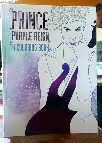 Prince Purple Reign: A Coloring Book by Coco Balderrama and A.D. Hitchin [Prince has sultry eyes and a purple guitar]
