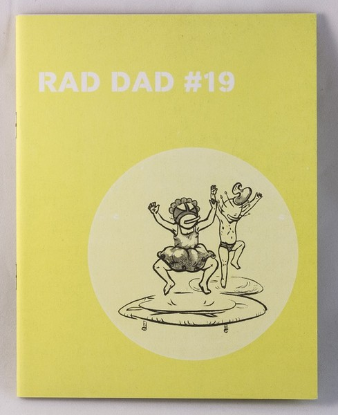 A yellow zine with a drawing of two people jumping on trampolines