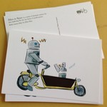 Robot Bike Family (four postcards)