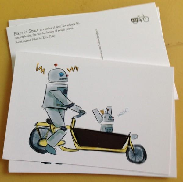 Robot Bike Family postcard