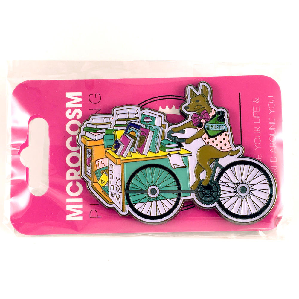 Service Dog Book Bike enamel pin