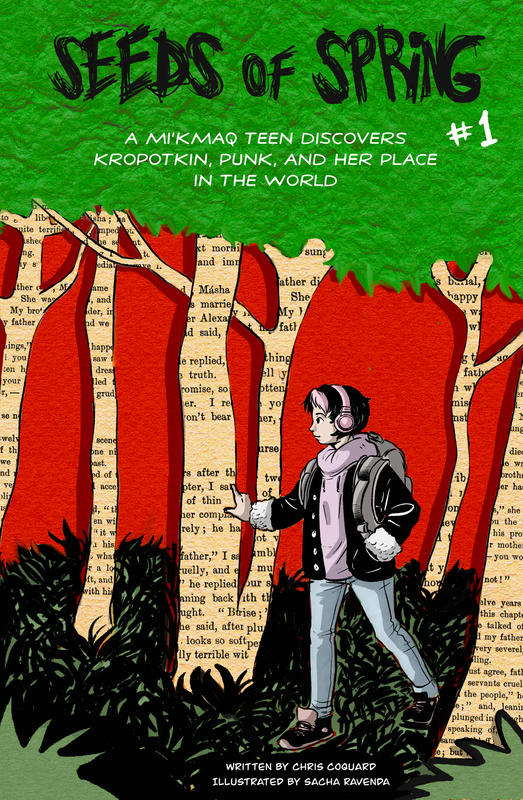 illustration of a teen in a forest with the large  disembodied head of Kropotkin looming in the background