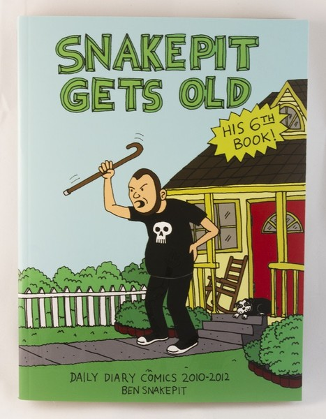 An illustration of Ben Snakepit holding his lower back with a cane raised to the sky as he yells at someone (probably some meddlin' kids) in his front yard