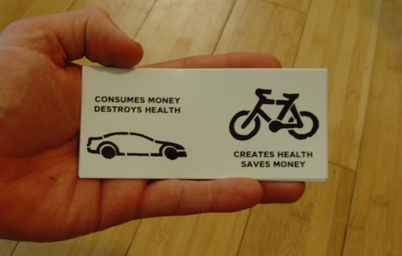 creates health, saves money bicycle sticker