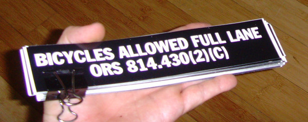 bicycles allowed full lane oregon vinyl sticker blowup