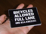 Sticker #184: Bicycles Allowed Full Lane (square)