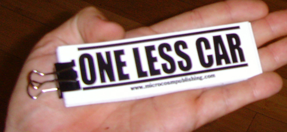 one less car vinyl sticker blowup