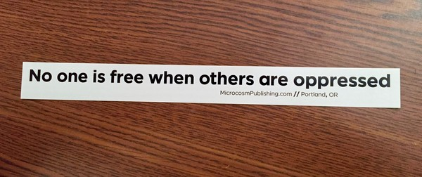 no one is free when others are oppressed vinyl sticker