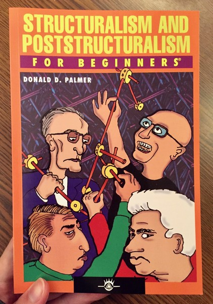 Book cover depicting four men building some kind of structure with TinkerToys