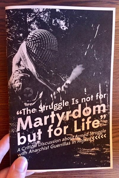 Cover of The Struggle Is not for Martyrdom but for Life which features a person whose face is completely obscured by bandanas, holding what appears to be some sort of rifle