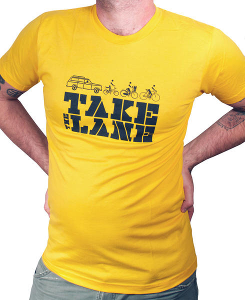t-shirt that says take the lane with an image of a car following 3 bikes