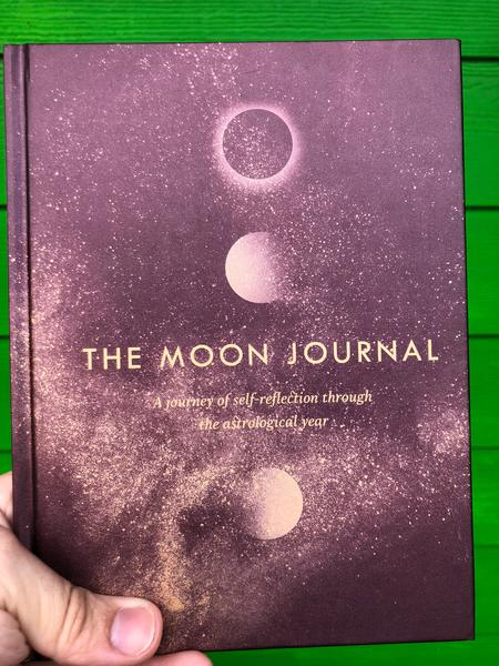 illustrations of different phases of the moon are lined up vertically on the purple cover, the title across the center of the cover.