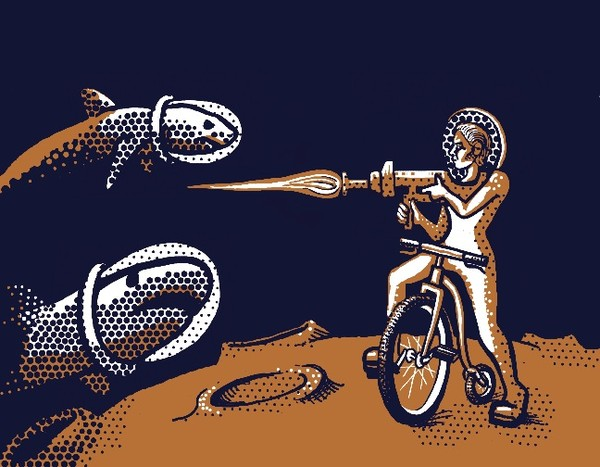 a drawing of a woman on a pennyfarthing aiming a blaster as space sharks approach