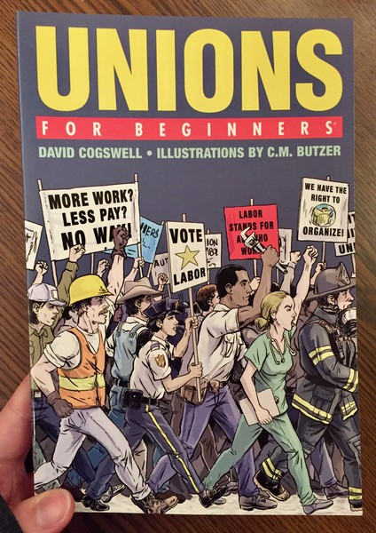 book cover depicting various workers rioting and protesting with signs