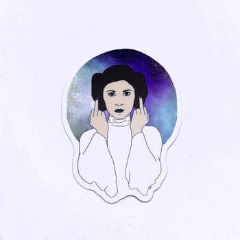 Princess Leia Middle Finger Sticker