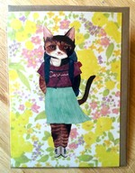Furcoats and Backpacks greeting card (Vivian—pleated skirt and white boots)