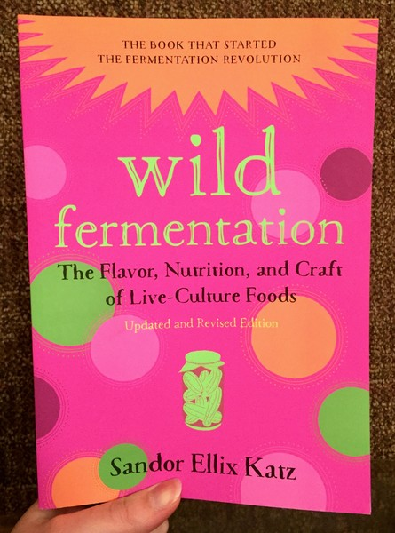 Wild Fermentation book (the bigger one) by Sandor Ellix Katz [A pink cover with orange and green shapes]