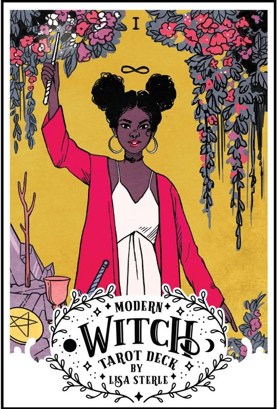 The magician card from the Rider-Waite-Smith tarot deck, but instead of an old white man, it's a young dark-skinned woman.