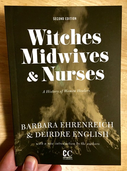 Cover of Witches, Midwives, and Nurses: A History of Women Healers which features a black and white image of a bonfire