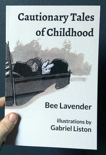 Cover of Cautionary Tales of Childhood which features the bed of a truck with a child sleeping in the back among luggage